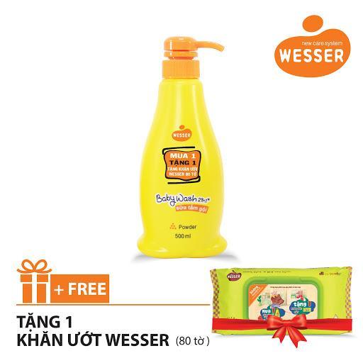 Sữa tắm gội Wesser 2 in 1 hương phấn 500ml (Màu cam) + Tặng 1 gói khăn ướt Wesser 80 tờ (Màu xanh) chính hãng