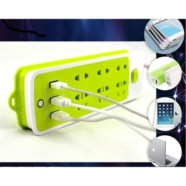 Ổ Cắm Điện Đa Năng Thông Minh Chống Giật 6 cổng cắm 3 Cổng USB vô cùng Tiện Dụng, An Toàn khi sử dụng ( Màu Xanh)