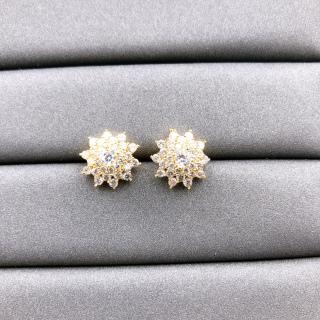[HCM]Bông tai nữ JK Silver kiểu dáng Hàn Quốc mạ vàng 18K đính kim cương nhân tạo công nghệ xi vàng 4 lớp cao cấp không đen không gây dị ứng trang sức nữ thumbnail