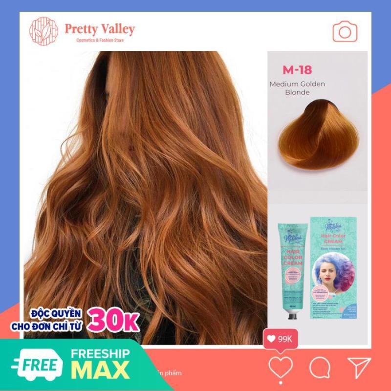 Kem nhuộm tóc cao cấp màu vàng nâu Medium Molokai 60ml [ TẶNG KÈM GĂNG TAY + CHAI OXY TRỢ DƯỠNG TÓC ] giá rẻ