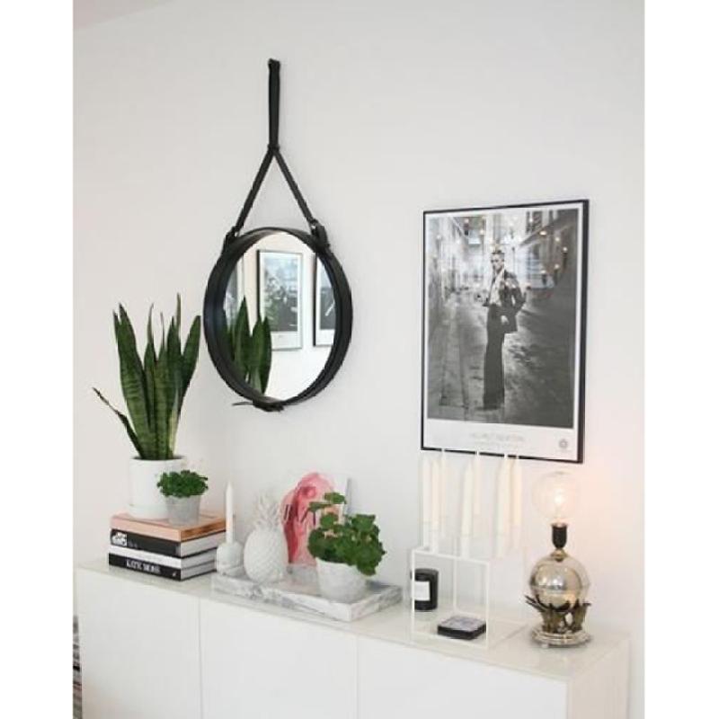 Gương treo tường D60 - Gương tròn treo tường dây da simili đường kính 60cm, gương trang điểm treo tường phong cách hiện đại