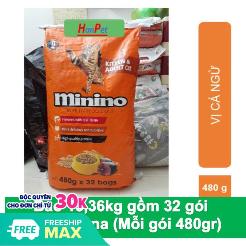 HCM- (Bao lớn 20 gói và bao 32 gói) Minino Thức ăn cho mèo mọi lứa tuổi / thức ăn hạt cho mèo / thức ăn dạng hạt khô cho mèo con và mèo lớn