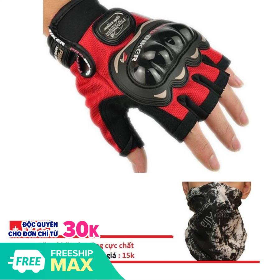 [HCM]Găng Tay Pro-Biker Dành Cho Phượt Thủ găng tay cụt ngón xe máy găng tay nam găng tay phượt + tặng kèm khăn đa năng trị giá 15k