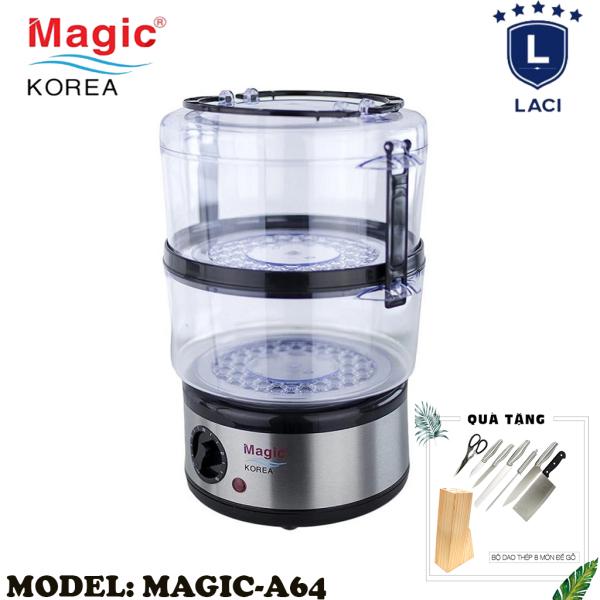 Máy Hấp Thực Phẩm Magic Korea A64 | Dung Tích Chứa 5L | Thiết Kế 2 Tầng Riêng Biệt | Công Suất 500W | Vừa Con Gà 1.2kg | Bảo Hành Chính Hãng 12 Tháng | Tặng Bộ Dao Làm Bếp 8 Món