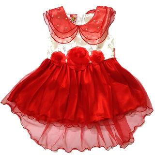Đầm dạ hội/ Đầm Noel / Đầm Tết / Đầm đuôi cá - Màu đỏ 2 lớp cao cấp chất ren dày mịn đính hạt châu size từ 7-24kg - Hàng thiết kế