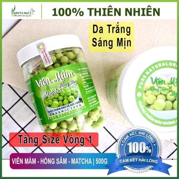 (Hộp 500G) Viên Mầm - Hồng Sâm - Matcha - Tăng Vòng 1, Đẹp Da, Tăng Sinh Lý Nữ. 100% Nguyên Liệu Hữu Cơ. giá rẻ