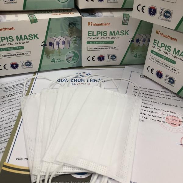 Khẩu trang y tế 4 lớp hộp 50 cái trắng - ELPIS MASK - Vải kháng khuẩn