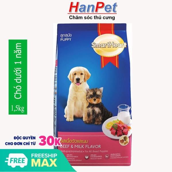 HCM - gói 1,5kg Thức ăn  dạng hạt cao cấp Smartheart Puppy (dành cho chó dưới 1 năm tuổi)  (hanpet 215c)-HP10315TC