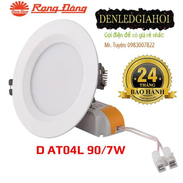 Đèn led âm trần 7W Rạng Đông khoét lỗ 90mm đế nhôm mã D AT04L 90/7W