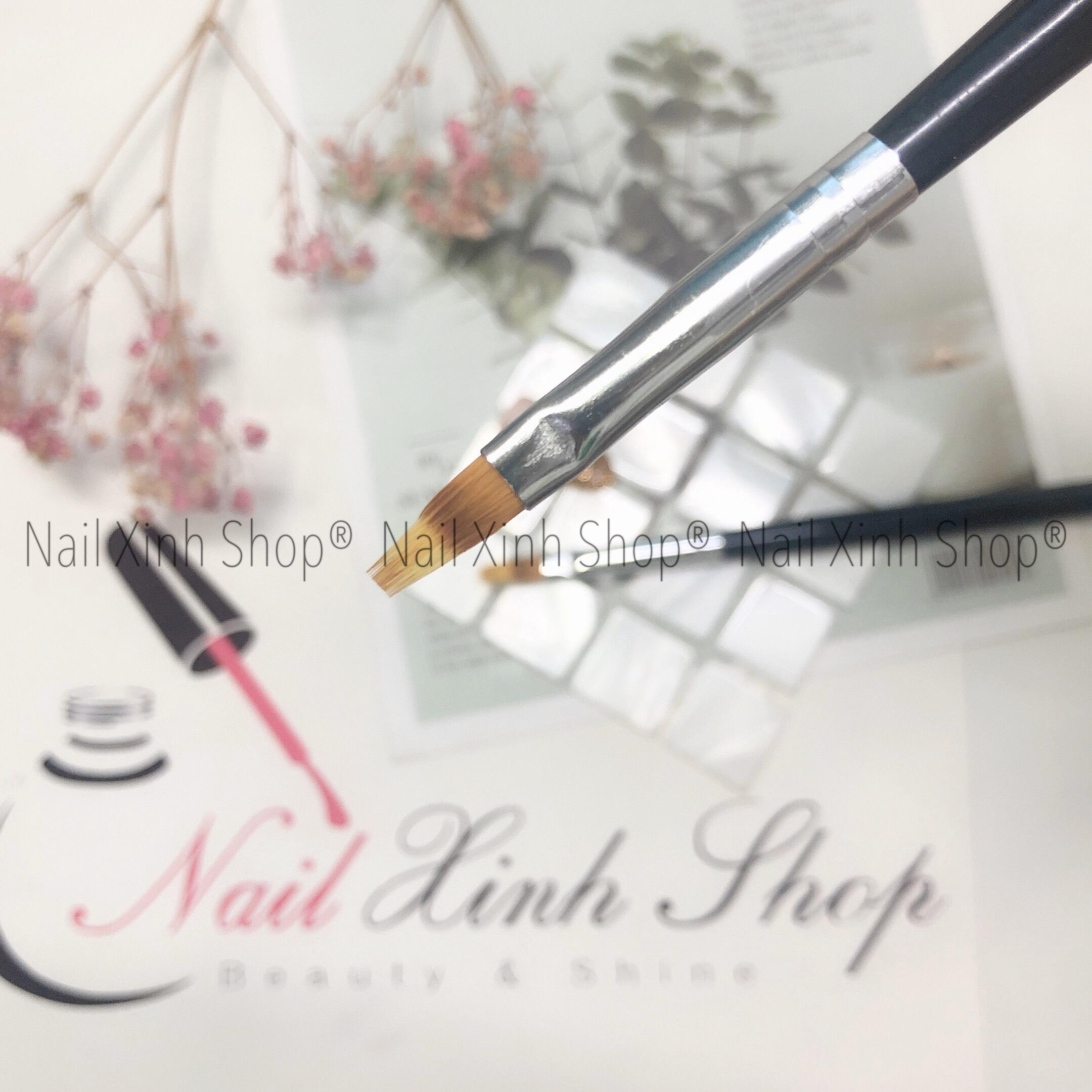 Cọ ombre cán gỗ cao cấp (cọ đầu tròn, bản xéo - cọ dẹp) dặm móng, vẽ nail chuyên nghiệp