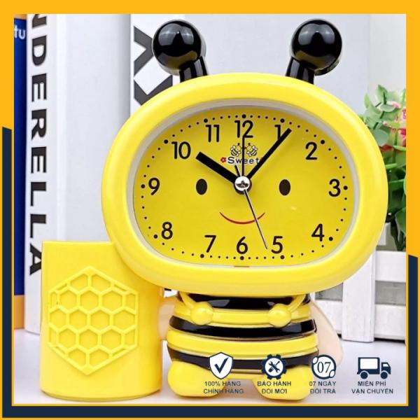 Đồng hồ báo thức cho bé hình chú ong chăm chỉ, Đồng hồ để bàn báo thức chuông kêu to, hình độc đáo dễ thương phù hợp với phòng ngủ, phòng làm việc, sử dụng pin lâu