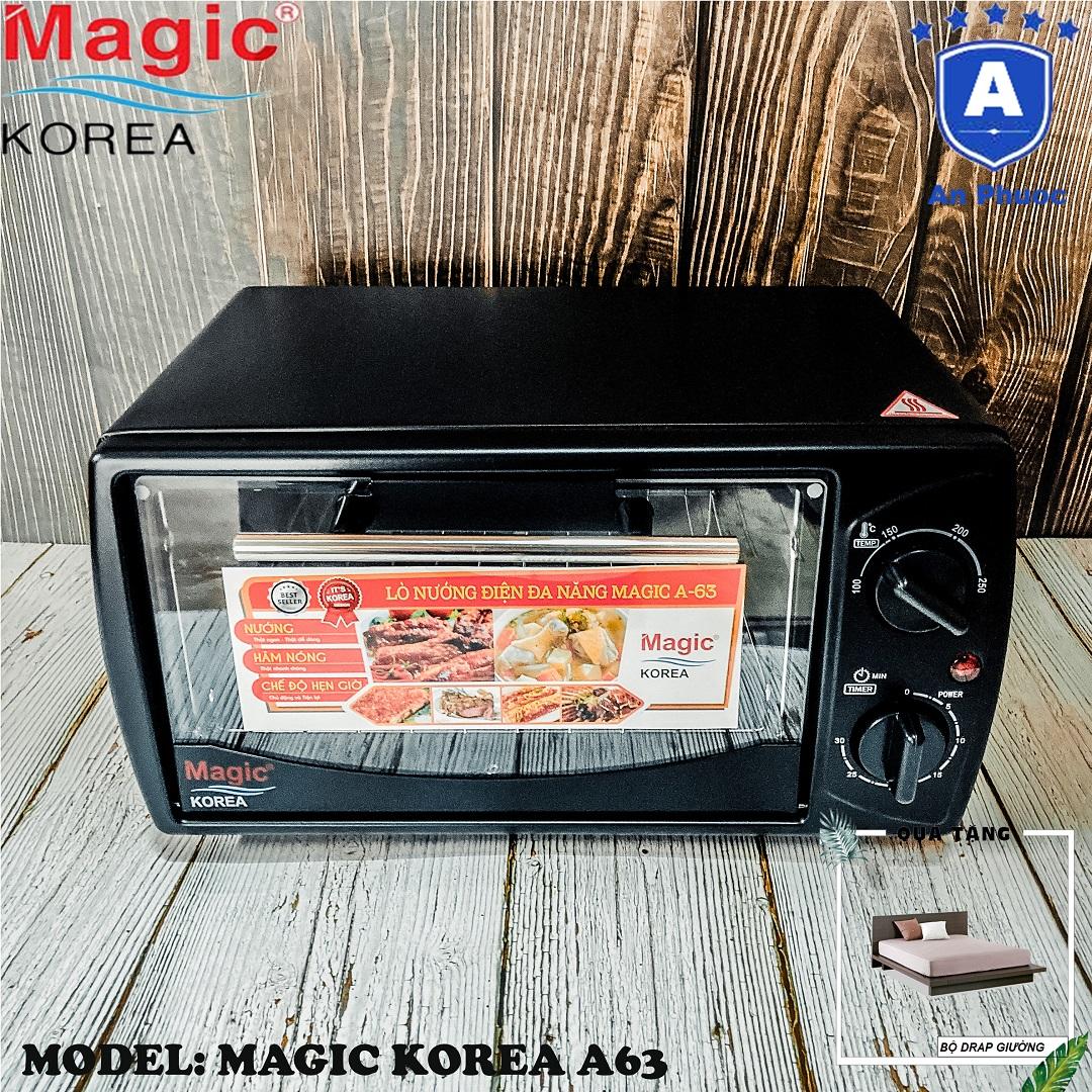 Lò nướng bánh mini Magic Korea A63 | Dung tích 12 Lít | Công suất 1000W | Màu đen | Bảo Hành Chính Hãng 12 Tháng | Tặng Bộ Drap Giường Ngủ