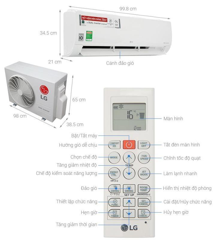 Bảng giá Máy lạnh LG Inverter V24ENF (2.5Hp)