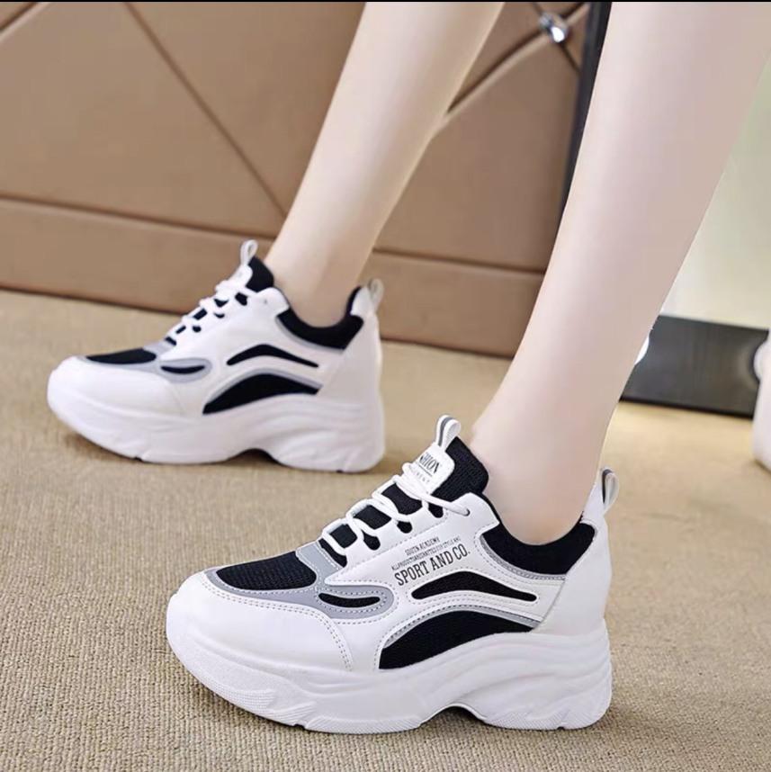 Giày sneaker nữ trắng đế cao phối màu cá tính cực đẹp giá rẻ