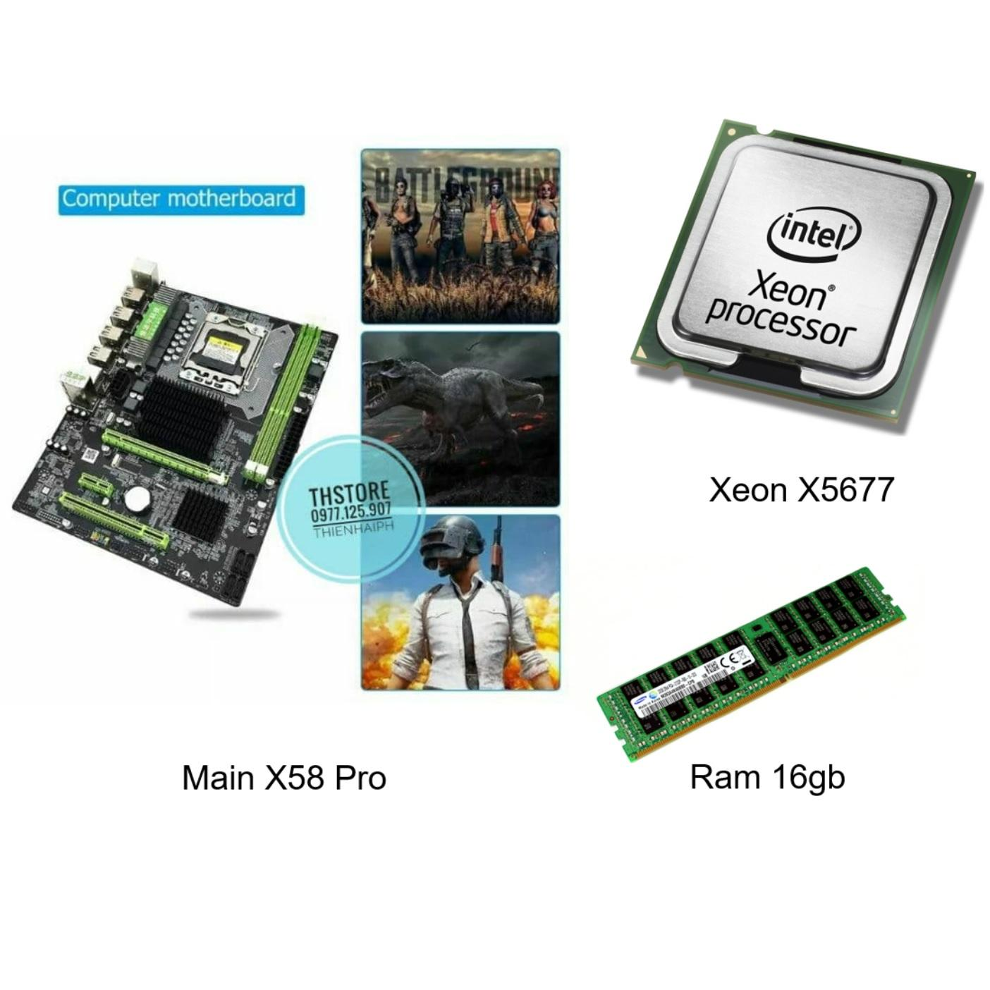 Combo Main CPU Ram X58 Pro Huananzhi + Xeon X5680 - X5670 - X5677 16Gb ram Siêu mạnh ~i7 3770 Nhật Bản