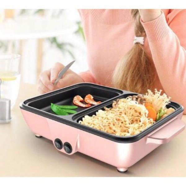 [Z-Mini Store] - Bếp Nướng + Lẩu 2in1 đa năng; Bếp điện 2 ngăn Vdecor 2 trong 1; nồi lẩu kiêm bếp nướng