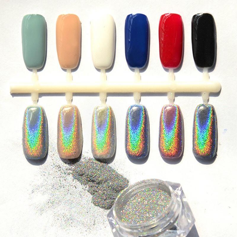 Bột crom, đắp móng crom ánh cầu vòng 7 màu, hiệu ứng tráng gương sáng bóng, phụ kiện nail hot 2020 (tặng kèm cọ chà crom)