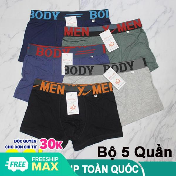 Bộ 5 quần sịp đùi quần boxer nam cao cấp cotton hàng VNXD mềm mịn thoáng mát ôm sát mông và đùi (Ảnh thật)
