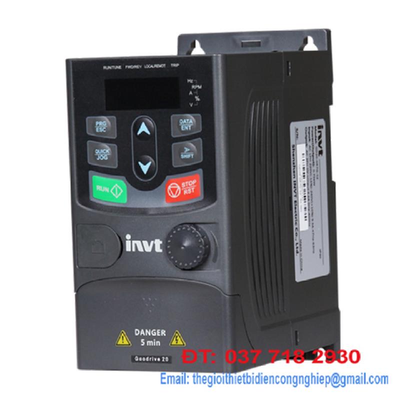 Biến tần INVT vào 1 Pha 220V pha ra 3 pha 220V 2HP 1.5Kw - GD20-1R5G-S2