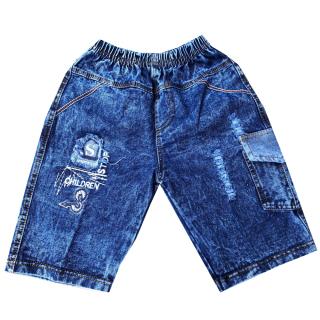 Quần jean lửng bé trai phối túi cao cấp họa tiết ngẫu nhiên size từ 25-36kg VNXK vải mềm mịn thumbnail