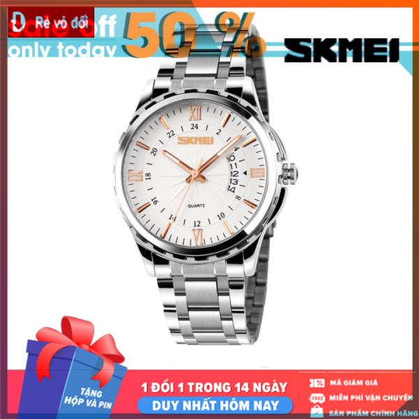 Đồng hồ nam SKMEI thời trang lịch lãm sang trọng, mặt kính dây thép kim loại đúc đặc chính hiệu -  Tặng hộp và pin dự phòng - Sam Shop