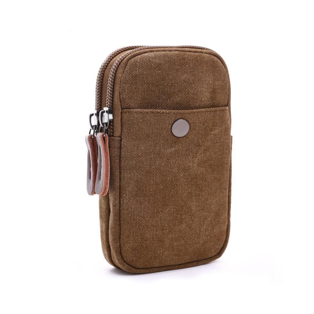 Túi đựng phụ kiện điện thoại, pin dự phòng AV023 ( vải KaKi siêu bền, có móc khoá đeo lưng)