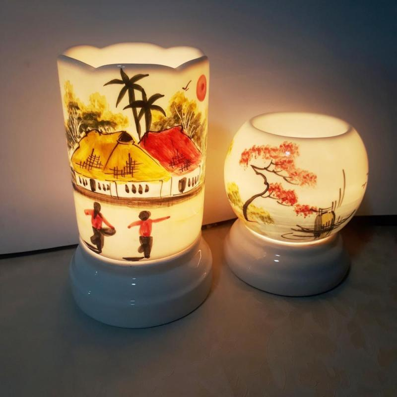 Đèn xông tinh dầu sứ Ống/Trứng 9*Cao16.5cm cao cấp Việt Nam vẽ thủ công  kiêm đèn ngủ - Hàng Bán Chạy - MS