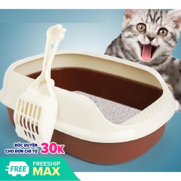 Khay đựng cát vệ sinh cho chó, mèo tặng kèm xẻng, có nắp dễ vệ sinh, sạch sẽ, 40*29*13,5 cm