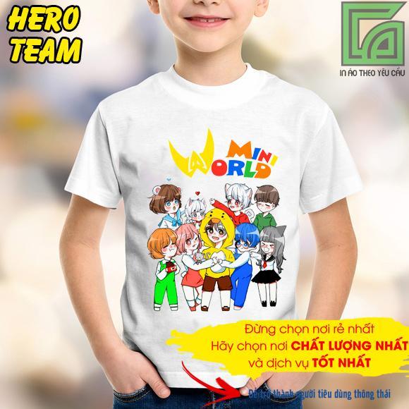 Mã Giảm Giá Khi Mua áo Thun Hero Team Mini World  3 Màu Trắng đen đỏ LZD01