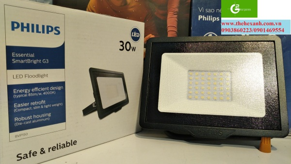 Đèn pha Led Philips chống nước, IP65 BVP150 30W SWB CE (Trắng/Vàng/Trung tính)