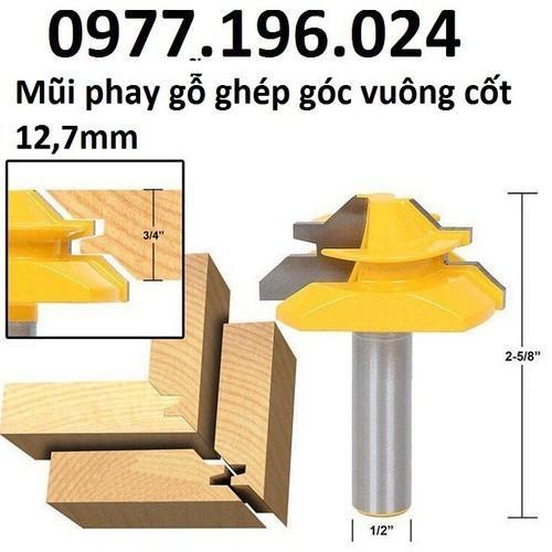 Mũi phay gỗ ghép góc vuông cốt 12ly7