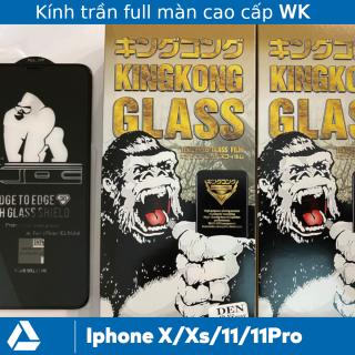 [Kính trần] Combo 2 Kính cường lực Iphone 11, 11 Pro, X, Xs full màn WK KingKong Xịn (Miếng Dán màn hình Cường Lực Iphone 11, 11Pro, X, Xs full màn) thumbnail
