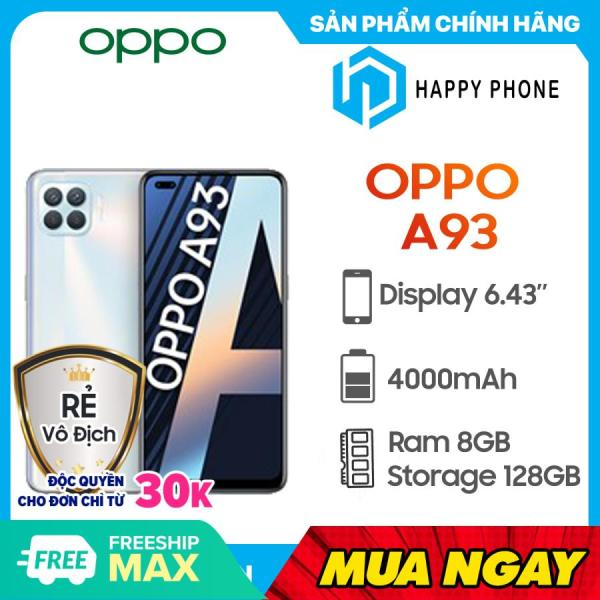 Điện thoại Oppo A93  Rom 128GB Ram 8GB, Màn hình 6.43, Snapdragon 665 8 nhân, Pin 4000mAh có sạc nhanh  Điện thoại chính hãng, mới 100%, nguyên seal, bảo hành chính hãng 12 tháng