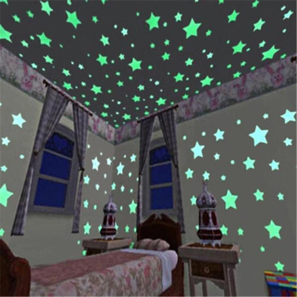 100 sao dạ quang dán tường đủ màu sắc - dán được khoảng 2m2 KamiHome
