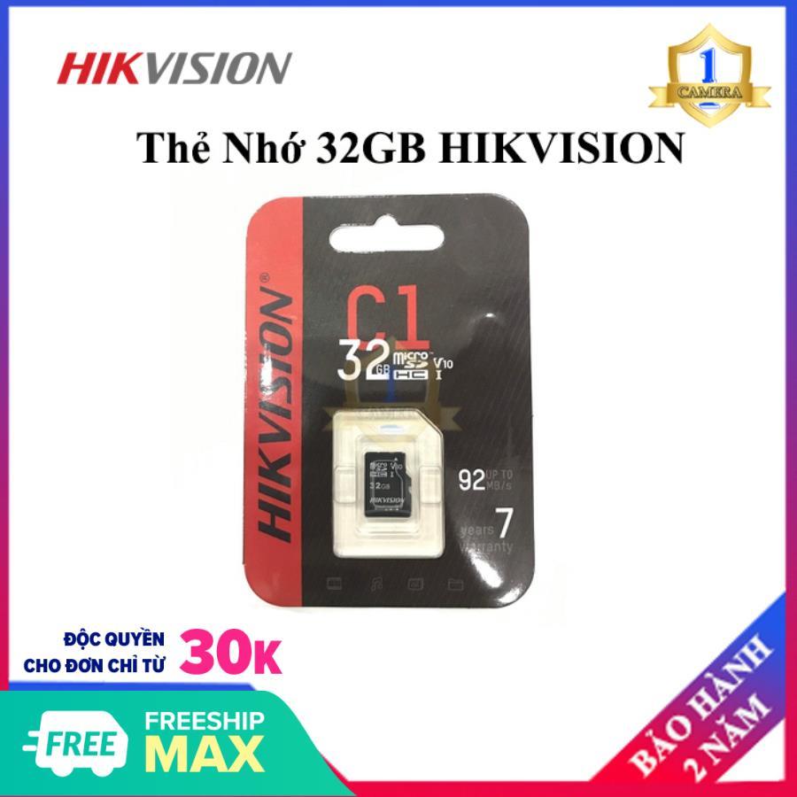 Thẻ nhớ HIKVISION 32GB 92MB/s chuyên dùng cho Camera HIKVISION, EZVIZ, KBVISION, DAHUA, IMOU - Thẻ nhớ Micro SD 32GB HIKVISON - Bảo hành 2 Năm - Camera số 1