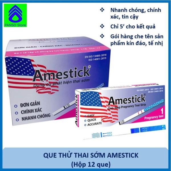que thử thai sớm Amestick - Hộp 12 que -  Dụng cụ thử thai nhanh chóng, chính xác tin cậy, tiện lợi chính hãng Dược Tân Á [PANSO Store] cao cấp
