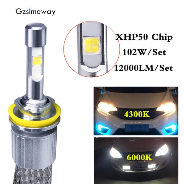 2Pcs đèn xe  H7 LED H4 H1 H8/9/11 9005HB3 bóng đèn LED 4300K 6000K XHP50 con chip 104W 12000LM Led Đèn Pha 9006 HB4 H3 H27 880 881  đèn chống sương mù 12V 24V - INTL