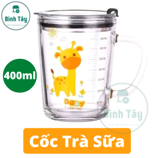 Cốc thuỷ tinh - Ly chia vạch thuỷ tinh thích hợp pha sữa cho em bé (TẶNG nắp + ống hút) BT-C016 thumbnail