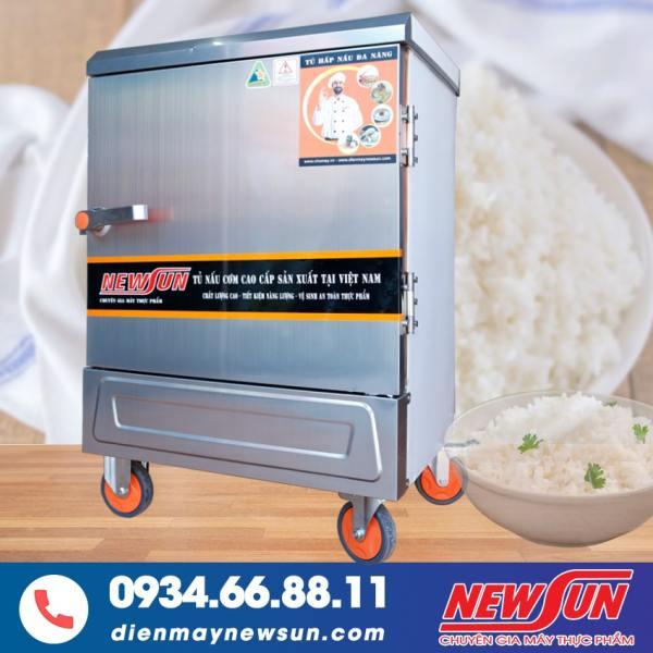 Tủ Nấu Cơm 6 Khay Điện Gas NEWSUN - Toàn bộ inox 304