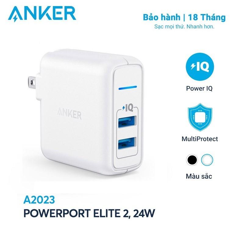 Sạc ANKER PowerPort Elite 2 cổng PowerIQ 24W - A2023 - Sạc tối ưu với công suất tối đa 12W mỗi cổng, trang bị công nghệ an toàn tiên tiến bảo vệ thiết bị và củ sạc