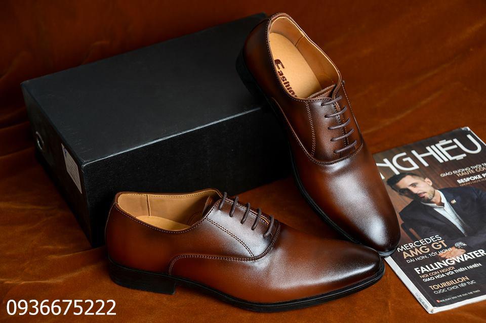 Giày Tây Nam Da Bò Công Sở Cao Cấp, Giày Dây Da Bò Thật, Tặng Kèm Si Bóng và Lót Da, Bảo Hành 12 Tháng