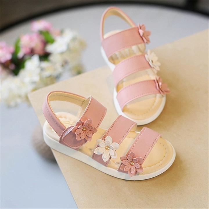 Giá bán Dép sandal cho bé gái đính hoa dành cho bé từ 2 -13 tuổi D10