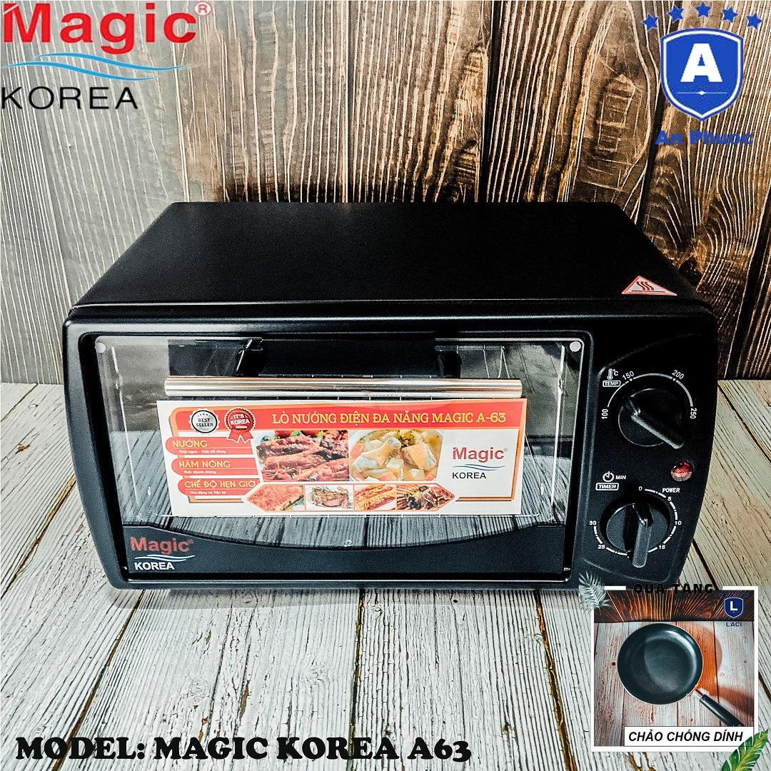 Lò nướng bánh mini Magic Korea A63   Dung tích 12 Lít   Công suất 1000W   Màu đen   Bảo Hành Chính Hãng 12 Tháng   Tặng Chảo Chống Dính 22cm