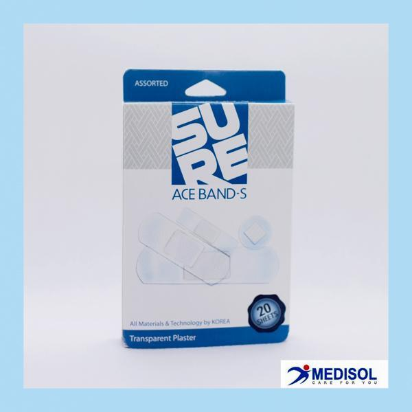 Băng Keo Cá Nhân Trong Suốt Ace Band-S - Băng Dán Có Chứa Benalkonium Chloride (hộp 4 size, 20 miếng)