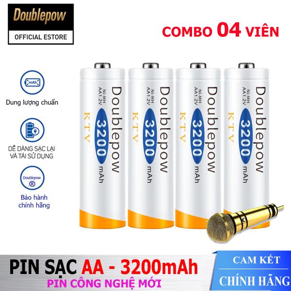 Bảng giá [Hộp 4 viên] Pin sạc AA 3200mAh Doublepow -Pin chuyên dụng cho Micro Karaoke  - (pin màu cam) - Bảo hành chính hãng