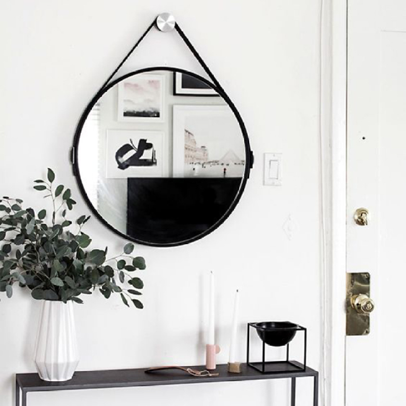 Gương treo tường D40 - Gương trang điểm, gương tròn dây da simili đường kính 40cm, gương tròn treo tường đã bao gồm vít treo