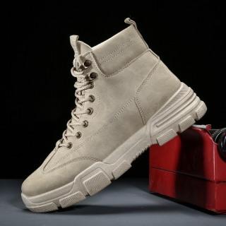 Giày Cao cổ nam da lì màu xám phong cách bụi , Đế cao su êm chân - Giày bốt cao bồi nam cực đẹp thumbnail