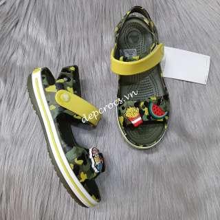 Sandal crocs bayaband trẻ em màu camo xanh lá tặng kèm jibbitz