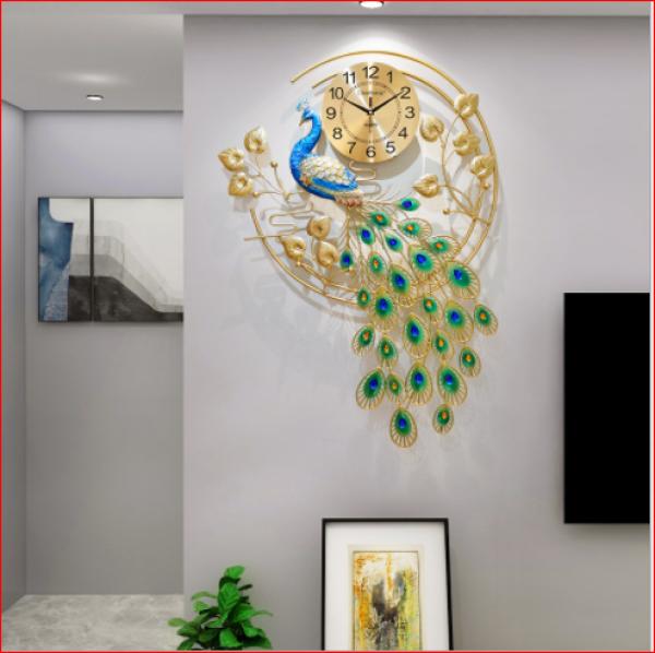 Nơi bán Đồng hồ treo tường trang trí chim công sang chảnh phong cách hiện đại Lian2878 chính hãng