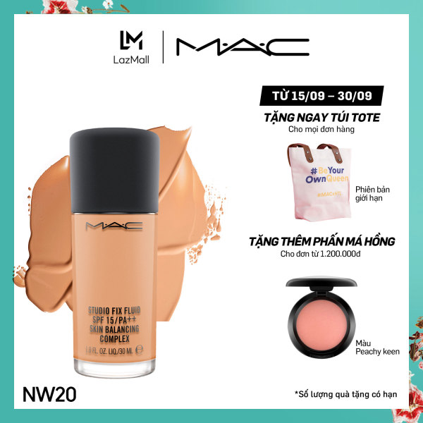 Kem nền lâu trôi 24h MAC Studio Fix Fluid SPF 15 Foundation 30ml